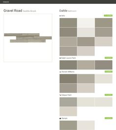 Gravel Road. Saddle Brook. Bathroom. Daltile. Behr. Ralph Lauren Paint. Sherwin Williams. Valspar Paint. Olympic.  Click the gray Visit button to see the matching paint names.