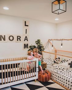 Liam + Nora aren't mad at the shared room experience in this house🖤 Read ab… - Baby room Shared Baby Rooms, Baby And Toddler Shared Room, Boy And Girl Shared Room, Shared Bedrooms, Toddler Rooms, Kid Bedrooms, Casa Lea, Sibling Room, Kids Room Design