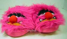 Sesame Street Muppet Show Animal Pink Plush Slippers