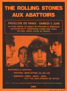 The Rolling Stones, Original Vintage French Concert Poster, Les Abattoirs, Pavillon de Paris, x in. x 30 cm. Tour Posters, Band Posters, Arte Punk, Punk Poster, Vintage Music Posters, Plakat Design, Indie, Rock Concert, Wow Art