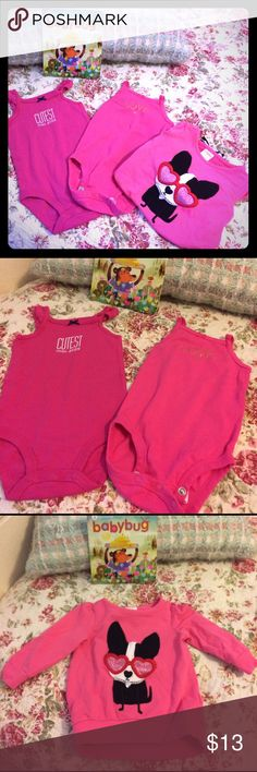 Set onesies & sweater Onesies are NWOT and sweater was used only once and in great condition! Onesies are very cute and sleeveless perfect for the spring and are size 9months brand Carters. The sweater is size 6-12 months and is brand Gymboree. One Pieces Bodysuits