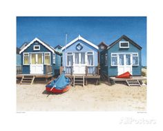 Blue Beach Huts Poster bij AllPosters.nl