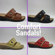 NEW ARRIVALS! More sandals - comfort and style in four colors - brown, black, olive, red.#sandals 1334 N Military Trail, WPB #shoehaulstore#shoehaul#wpb#westpalmbeach#soflorida#shoehaulic#fashion