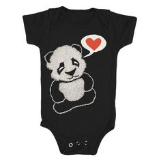 Panda Bear - Baby One Piece Bodysuit Romper Jumper Cute Boy Girl Adorable Red Heart Love Zoo Asian Animal Fuzzy Furry Cuddly Black Onesie