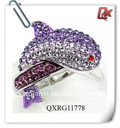 purple dolphin rings | Purple Dolphin Wedding Rings With Diamond (qxrg11778) - Buy Dolphin ...