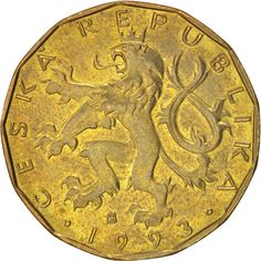 CZECH REPUBLIC, 20 Korun, 1993, KM #5, AU(55-58), Brass Plated Steel, 26, 8.50