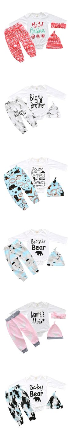 2017 Autumn Cotton New baby clothing set boy Girls Long Sleeve Tops Romper +Long Pants+Hat 3pcs newborn baby Girls clothes set