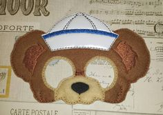 Duffy the disney bear inspired mask ITH Project In the Hoop Embroidery Design Costume, Cosplay, Fancy dress, Masquerade, Photo booth, Prop. by TheHoopBooteek on Etsy
