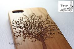 Natural wood iPhone 5 case, iphone 5s, Tree, Art, Gift, Engraving, Cherry Wood, Wooden Pattern, Real wood on Etsy, $21.50
