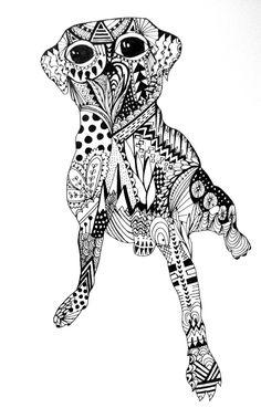 Zentangle dog by George Draws