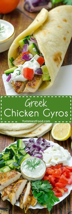 You can easily make Greek Chicken Gyros with Tzaziki Sauce and Pita Flatbread at home and enjoy in this healthy and very tasty recipe.