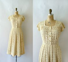 1940s Vintage Dress  40s Ivory Lace Dress  Cream by Sweetbeefinds