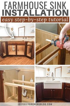 This step-by-step tutorial will make your DIY farmhouse sink installation easy! Complete with pictures showing how to cut the cabinets for the apron front. Farmhouse Apron Sink, Apron Front Kitchen Sink, Kitchen Redo, Kitchen Ideas, Kitchen Remodel, Pantry Ideas, Diy Cabinets, White Cabinets, Kitchen Cabinets