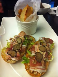 French open #sandwich with dry ham #duck liver and #truffle. French fries with truffle oil
