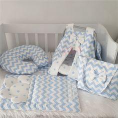 ModaStra Mavi Beyaz Zigzag Desenli Puset Örtüsü AltAçma, Emzirme Yastığı ve Çanta set