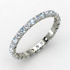 Gemvara - Rich & Thin Eternity Band. Diamond & Aquamarine with 14K White Gold