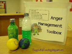 Calm down Toolbox: Salute to Social Skills! Stress ball, Play Doh, squishy balls...to squeeze out anger. Crayons and spiral tablet...to write down feelings or draw. A calming jar...to relax. A small stuffed toy...for comfort. Visual cue cards...for deep breathing technique, keep hands and feet to self, count to 10, talk to an adult.