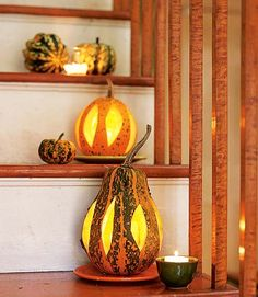 Use votive candles inside glass holders filled with a little water, so the candle will go out when it burns down. Use two or more candles for greater light. Or use a small string of battery-operated Christmas lights.