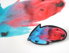 Let your spirit feel light with this watercolour feather brooch.  The feather is a reproduction of an original watercolour painting and has