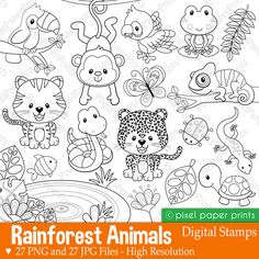 Rainforest animals - Digital Stamps - Clipart - Are you looking for cute high quality images to use in your projects? Rainforest Animals, Photoshop Elements, Digital Stamps, Clear Stamps, Art Images, Coloring Pages, Doodles, Paper Crafts, Projects