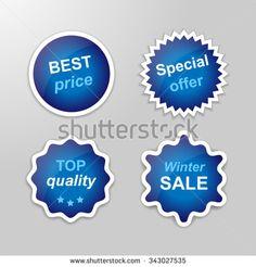 Set of glowing vector stickers with Winter Sale theme - dark blue | http://www.shutterstock.com/g/ajinak
