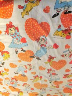 Raggedy Ann and Andy Twin Sheets/Raggedy Ann and Andy Flat Fitted Sheet Set/UPCYCLE Fabric/Multi Color/Craft/Sewing/Home Decor/