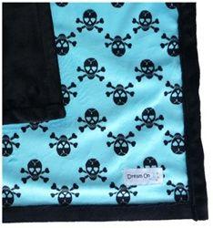 Blue & Black Skulls Blanket