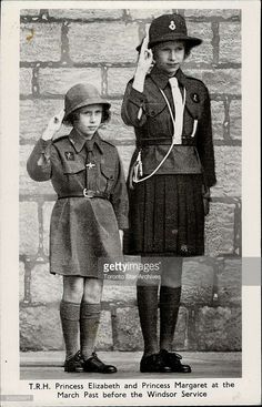 Princesses Elizabeth and Margaret in their Girl Guides uniforms, April 1941