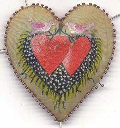 Handpainted Heart Shaped Pin Cushion Doves Hearts Flowering Vine Folk Art | eBay