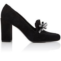 Saint Laurent Women's Babies Loafer Pumps ($1,095) ❤ liked on Polyvore featuring shoes, black, suede slip on shoes, loafer shoes, high heel shoes, slip on shoes and suede shoes
