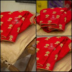 TS-SR-386Available Gold Tissue saree with a Red hand worked blouse from Team Teja...For orders/queriesCall/ whats app on8341382382 Mail tejasarees@yahoo.com. 24 September 2017