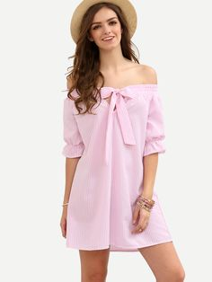 Pink Striped Bow Off The Shoulder Shift Dress -SheIn(Sheinside)