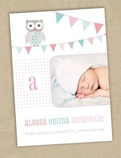 Photo Birth Announcement Cards. Owl & bunting. Boy or Girl. I Customize, You Print.
