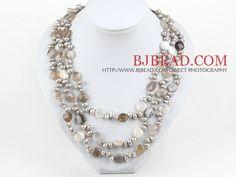 Multi Strands Pearl e persiano grigio agata Collana