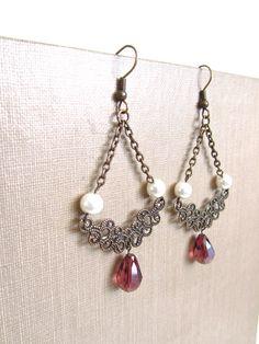 Victorian Chandelier Earrings, Plum Teardrop - by mintlilly, $18.00