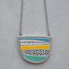 Long geometric ceramic pendant necklace