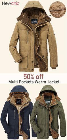 ebcb4009969 Winter Thicken Warm Multi Pockets Solid Color Detachable Hood Jacket for  Men  jacket  outdoor