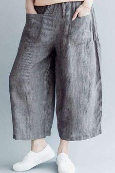 Fabric: Fabric has some stretchSeason: Spring,Summer,Autumn Pant Type: Wide leg pants Pant Length: LongColor: GrayStyle: CasualMaterial: Linen Cotton Free Size: Length: 82 cm, cm, cm Fall Pants, Pantalon Large, Type Of Pants, Linen Trousers, Pants For Women, Clothes For Women, Moda Plus Size, Mo S, Pants Pattern