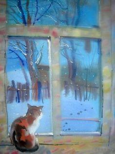 Winter cat painting. Elmira Mustafina