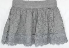 Abercrombie Fitch Gray Lace Skirt Sz Med Lined Spring Summer Cute | eBay