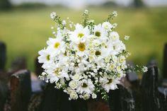 White Daisy Bridal Bouquet Flowers Relaxed Stylish Cornflower Blue Seaside Wedding http://fraserstewartphotography.co.uk/