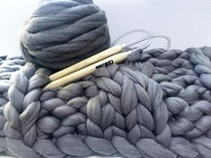 DIY Kit, Cable Knit Blanket 45x60 in