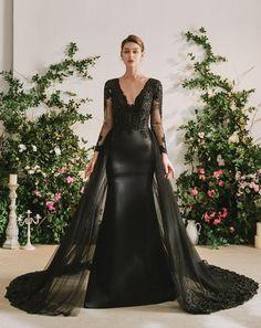 Black Bridal Dresses, Black Wedding Gowns, Wedding Attire, Bridal Gowns, Wedding Dress Cape, Goth Wedding Dresses, October Wedding Dresses, Black Formal Gown, Black Wedding Themes