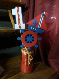 "Centro de mesa para 1er añito temática ""marinero"" ⚙⛵⚓ Nautical Party, Baby Shower, Salvador, Ideas Para, Birthday Candles, Kai, Birthdays, Party Ideas, Sailor Birthday"