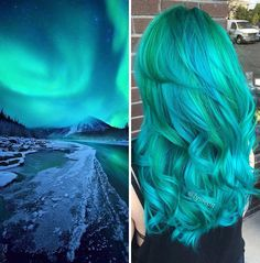 Galaxy hair color or space hair dye jobs are multicolored looks that show the solar system is great hair color inspiration. Hair Dye Colors, Hair Color Blue, Cool Hair Color, Green Hair, Teal Hair, Lilac Hair, Colored Hair, Turquoise Hair, Pastel Hair