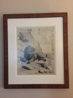 Evert van Muyden - Lion in the Mountains. Etching 76 from his catalogue; 3d state. Exhibited at the Paris Exhibition of 1889. See my other pin which is a sketch/study for this etching.