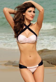 fc79de3a01 Black cross straps halter bikini - omdear.com Halter Bikini