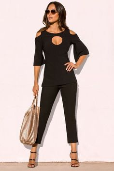 adec8ea2dd7d2b Cold Shoulder Keyhole Top in Black (also in olive). A must-have soft knit  top features a keyhole front