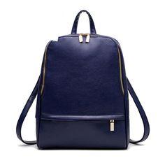 2016 New Designed Women PU Leather Backpacks Large Girls Schoolbag Travel Bag Solid Candy Color Bolsas Mochila Feminina