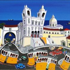Great painting by J. Lisbon Tram, Great Paintings, Naive Art, Paint Designs, Artist Painting, Travel Posters, Lovers Art, Illustration Art, Illustrations
